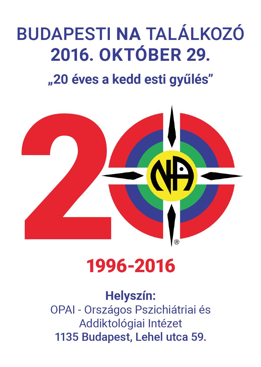 Budapesti NA Találkozó 2016. október 29. flyer 1 oldal